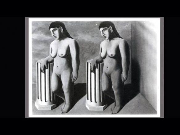 """Рене Магрит рисува """"Човешкото състояние"""" върху част от """"Омагьосана поза"""", след като тя му е върната от изложба"""
