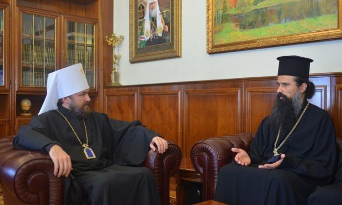 Владиката  Данаил по време на посещението му през май във Външния отдел на Московската патриаршия