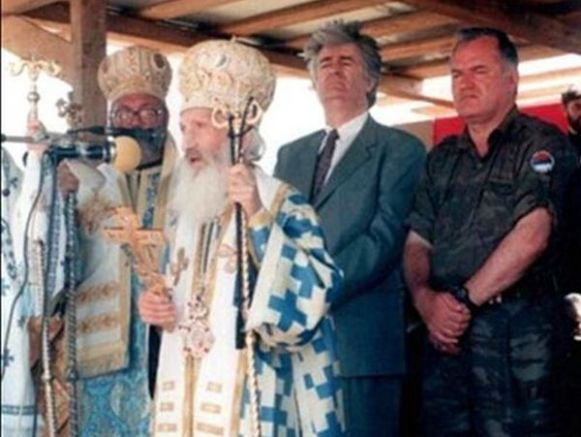Mатриарх Павле заедно с най-големите военнопрестъпници - Радован Караджич и Радко Младич