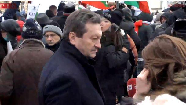 Таско Ерменков на протеста. Кадър ПИК